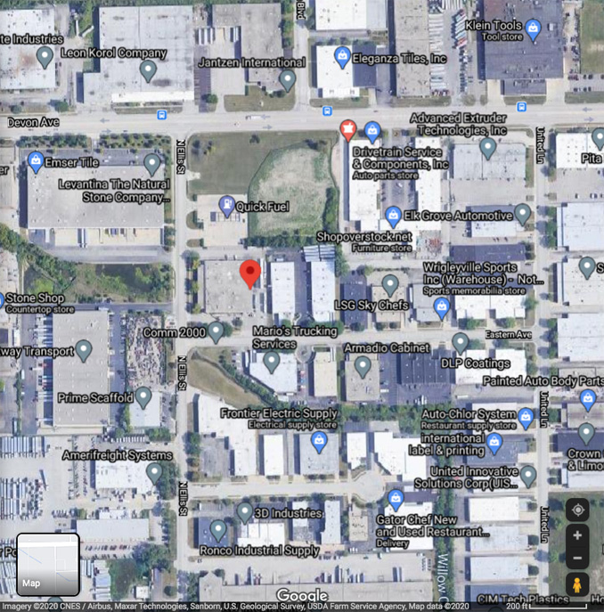 Extra Alarm industrial fire at 1241 North Ellis Street Bensenville (Imagery ©2020 CNES / Airbus, Maxar Technologies, Sanborn, U.S. Geological Survey, USDA Farm Service Agency, Map data ©2020)