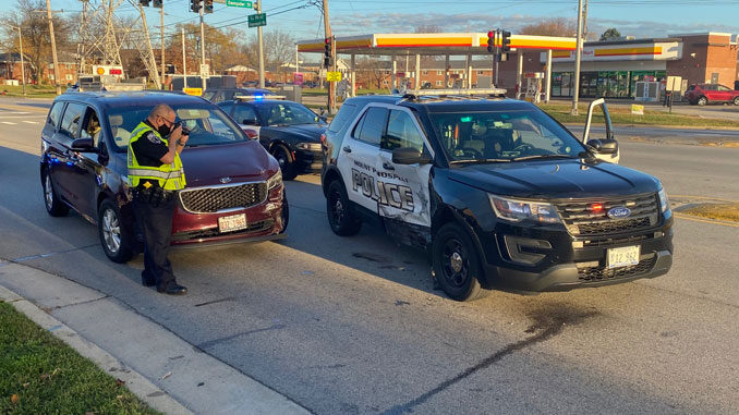 Mount Prospect Police SUV crash scene after motorist blinded by sunrise hit police SUV road block
