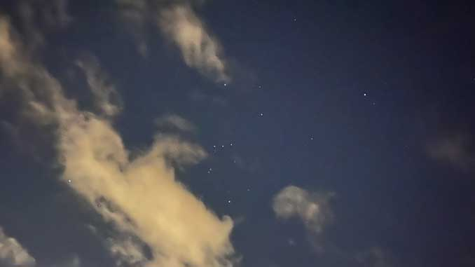 Orion appears in clearing skies over Arlington Heights at 2:29 a.m. Wednesday, November 11, 2020