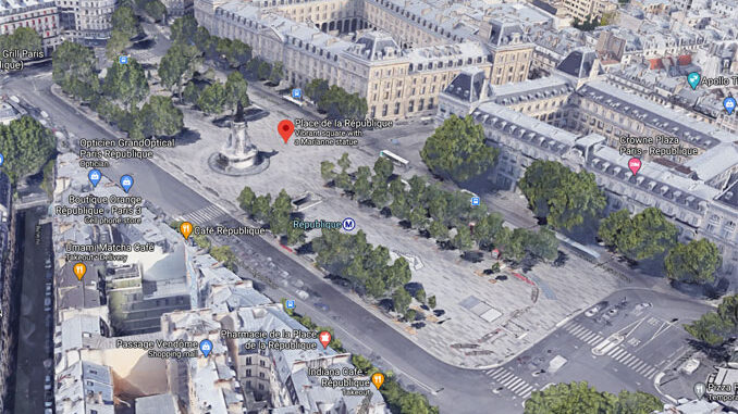 Place de la République, Paris, France (Imagery ©2020 Google, Imagery ©2020 Aerodata International Surveys, CNES / Airbus, Maxar Technologies, The GeoInformation Group | InterAtlas, Map data ©2020)