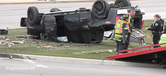 Rollover Silverado pickup truck crash at Route 72 and Route 53 in Schaumburg, Illinois