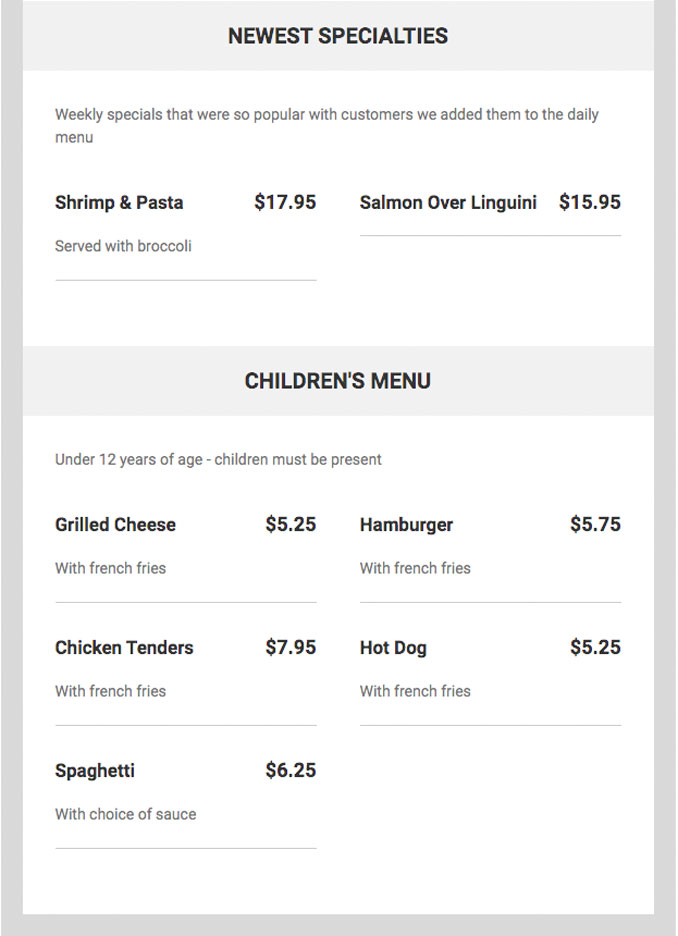 Sam's of Arlington Menu Part 3 (SOURCE: singleplatform.com)