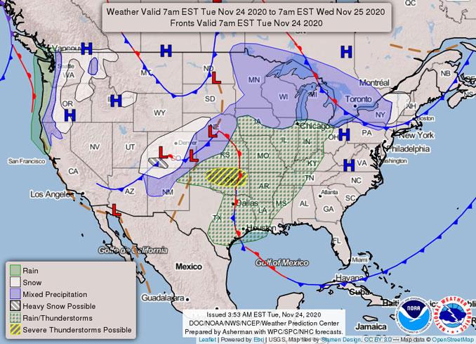 NWS Weather Map i ssued 2153 on November 23, 2020