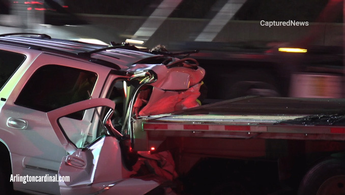 SUV crash into truck on WB I-90 near Roselle Road, Schaumburg.