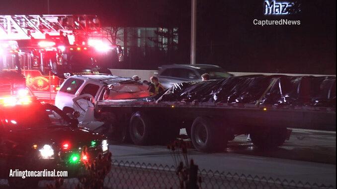 SUV crash into truck on WB I-90 near Roselle Road, Schaumburg.