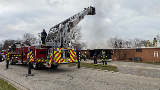 Firefighters working to extinguish a fire at the Christian Church of Arlington Heights at 333 West Thomas St. at the corner of Thomas Street and Chestnut Avenue.