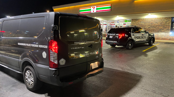 Schaumburg police on scene in an armed robbery crime scene at 7-Eleven