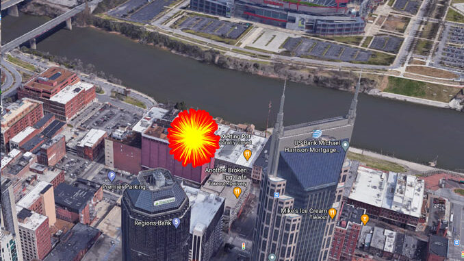 AT&T Building 33-story foreground, Titans Stadium in background near explosion site (Imagery ©2020 Google, Imagery ©2020 CNES / Airbus, Maxar Technologies, USDA Farm Service Agency, Map data ©2020 Nashville Davidson County)