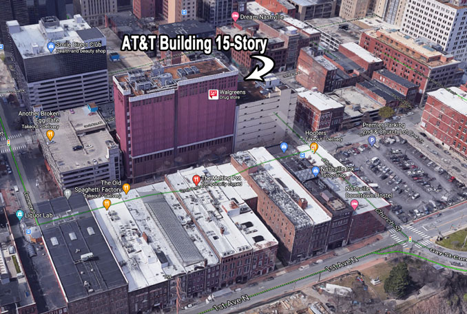AT&T 15-story building near RV bomb site at 185 2nd Avenue N in Nashville (Imagery ©2020 Google, Imagery ©2020 CNES / Airbus, Maxar Technologies, Map data ©2020 Nashville Davidson County)