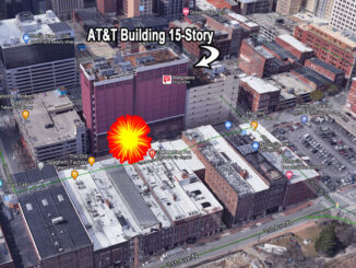 AT&T 15-story building near RV bomb site at 185 2nd Avenue N in Nashville (View looking southwest: Imagery ©2020 Google, Imagery ©2020 CNES / Airbus, Maxar Technologies, Map data ©2020 Nashville Davidson County)
