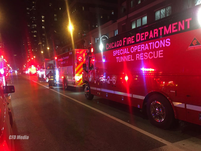 CFD Special Tunnel Operations at a rubbish fire in the CTA Red Line subway tunnel near Roosevelt Road and State Street in Chicago