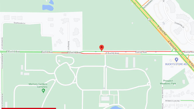 Crash Map at 2501 East Euclid Avenue in Arlington Heights (Map data ©2020 Google)
