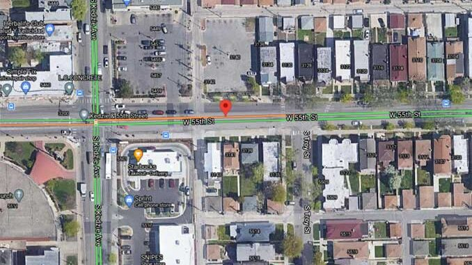 Crash Map 55th Street and Troy Street Chicago (Imagery ©2020 Maxar Technologies, Sanborn, U.S. Geological Survey, Map data ©2020 Google)
