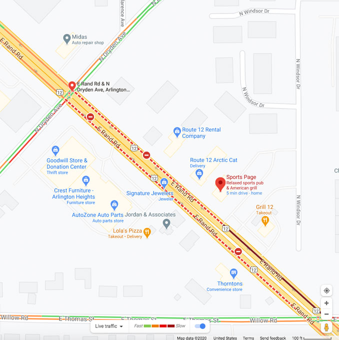 Crash Map Scene at on US 12 (Rand Road) between Dryden Avenue and Thomas Street about 7:00 p.m. on Saturday December 12, 2020