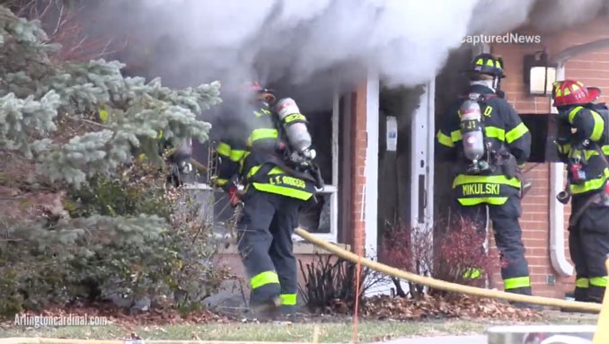 Firefighters attack church fire in 1-story east wing of Christian Church of Arlington Heights on Sunday, December 6, 2020