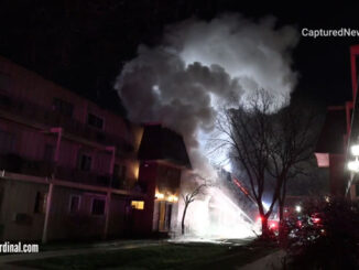 "Heavy smoke at Rolling Meadows condo fire on Algonquin Road ""Coach Light Condominiums."""