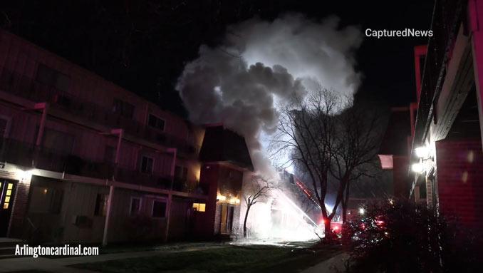 "Heavy smoke at Rolling Meadows condo fire on Algonquin Road ""Coach Light Condominiums."""