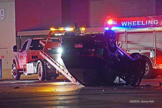 Rollover crash scene at Walmart north driveway (SOURCE: Jimmy Bolf)