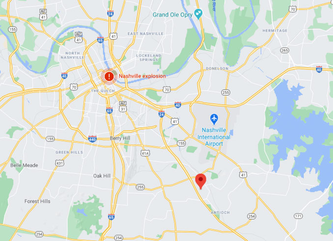 Map Nashville - Antioch area; Antioch just south of Nashville International Airport (Map data ©2020 Google)