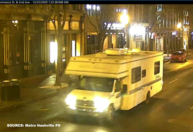 RV image captured by a Commerce Street and 2nd Avenue camera on Friday, December 15, 2020 at 1:22 a.m. (Provided by Metro Nashville PD)