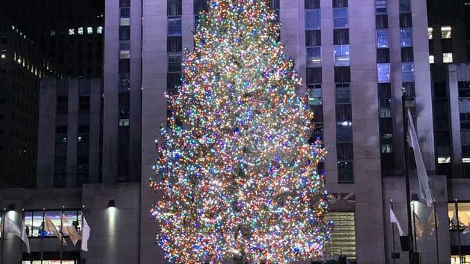 Rockefeller Center Christmas Tree in New York City in early December 2020 about 10 days before the first major snowstorm of the 2020-21 season
