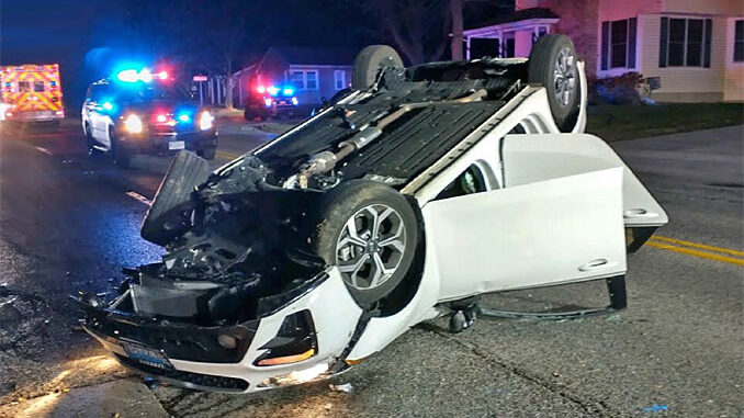 Rollover crash on northbound Arlington Heights Road between Willow Street and Oakton Street