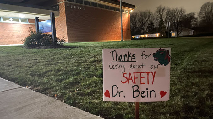 Thanks Dr. Bein sign in front of the District 25 Administrative offices