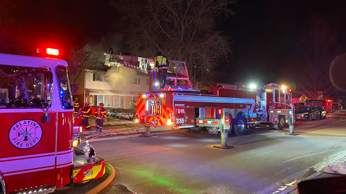 Buffalo Grove new Tower Ladder at scene of a house on Ivy Lane where Arlington Heights Engine 4 was just ahead at the hydrant