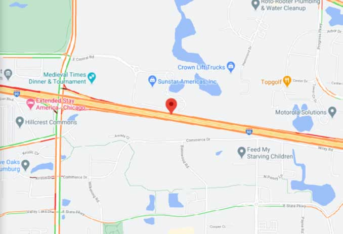 Map Box Truck Crash with Fire on I-90 West on Saturday, January 30, 2021