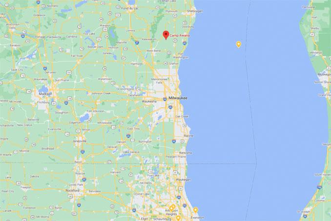 Map showing Camp Awana Farmington, Wisconsin (Map data ©2021 Google)