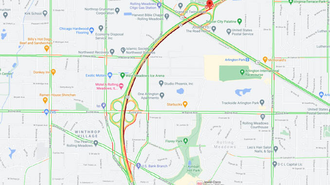 Crash Route 53 January 22, 2021 6:30 a.m. with traffic impact at 7:15 a.m. (Map data ©2021 Google)