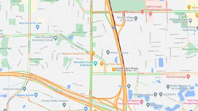 Map of rollover box truck crash on IL-53/I-290 north of Biesterfield Road near Elk Grove Village