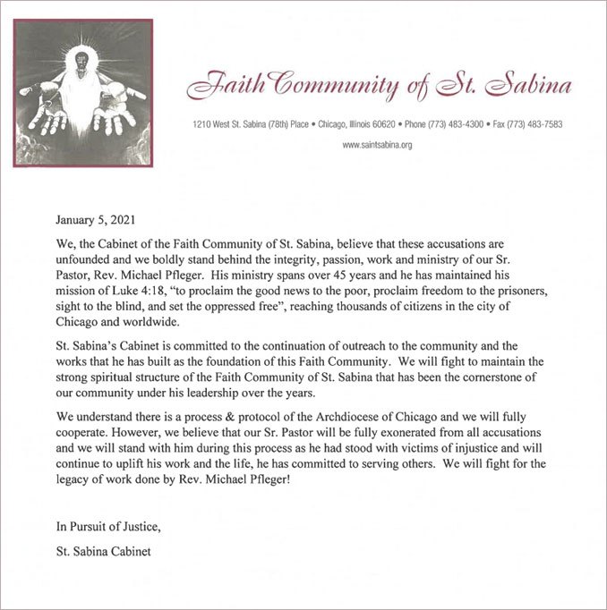 Letter from the Faith Community of St. Sabina regarding Father Michael Pfleger