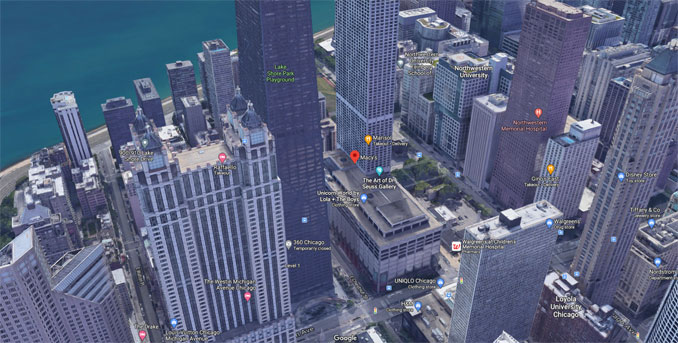 Macy's Water Tower Place Chicago (Imagery ©2021 Google Imagery ©2021 CNES / Airbus, Maxar Technologies, Sanborn, U.S. Geological Survey, AUSDA Farm Service Agency, Map data ©2021 Google)