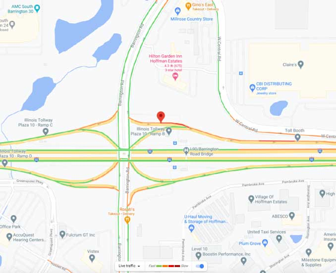 Map of crash scene at Tollway Plaza 10 on I-90 West at the Barrington Road exits (Map data ©2021 Google)