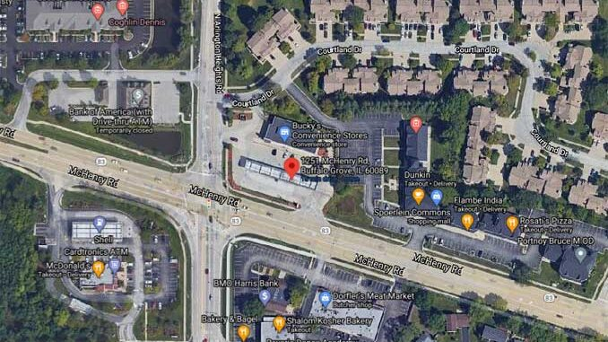 Mobil gas station at McHenry Road and Arlington Heights Road, Buffalo Grove (Imagery ©2021 Maxar Technologies, U.S. Geological Survey, USDA Farm Service Agency, Map data ©2021 Google)