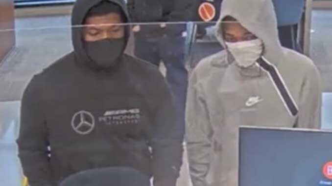 Bank robbery suspects at Byline Bank on Lake Avenue Wilmette on Monday, January 4, 2021 (FBI Chicago)