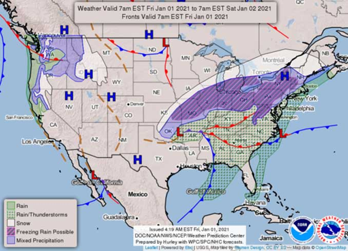 Weather Map Issued Friday January 1, 2021 at 4:19 AM EST (Prepared by Hurley with WPC/SPC/NHC forecasts)