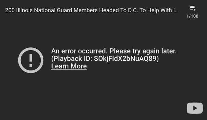 YouTube embedded playback error screen shot