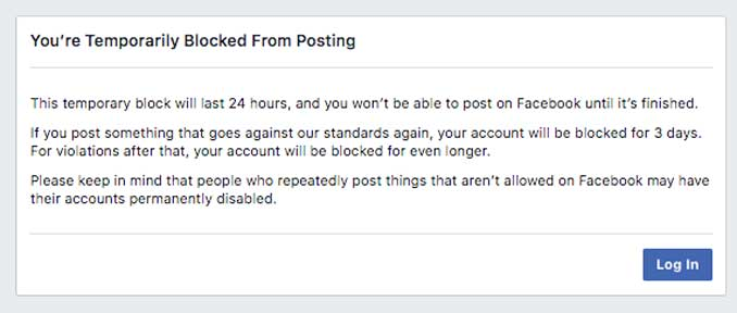 You're Temporarily Blocked from Facebook
