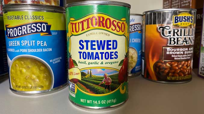 Tuttorosso Stewed Tomatoes in pantry