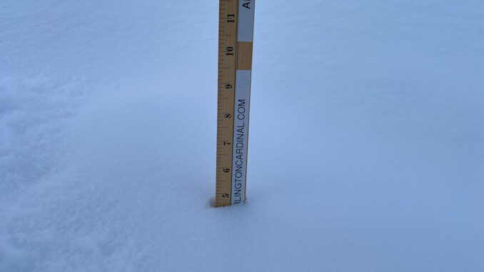 Snowfall measured 4.5 inches in central Arlington Heights for the period 3:00 p.m. Monday February 15 to 7:00 a.m. Tuesday, February 16, 2021