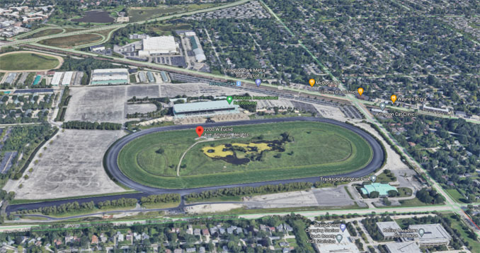 Arlington International Racecourse 2200 West Euclid Avenue Arlington Heights (SOURCE: Imagery ©2021 Google, Imagery ©2021 Maxar Technologies, U.S. Geological Survey, USDA Farm Service Agency, Map data ©2021)