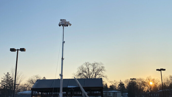 Patrol Cam mobile surveillance trailer deployed at the Arlington Heights Mariano's mid-February 2021