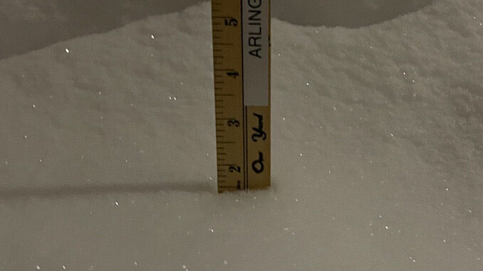 Snowfall accumulation of 1.5 inch overnight Sunday, February 14, 2021 to Monday, February 15, 2021 as first part of significant snowstorm