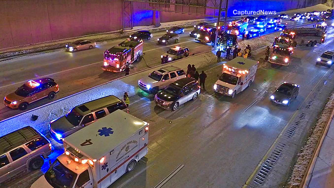 CFD Ambulance 4, Ambulance 1, and Ambulance 35 were at the scene of a fatal one-vehicle crash on the Dan Ryan Expressway south of 63rd Street Tuesday night February 9, 2021 (PHOTO: CapturedNews)