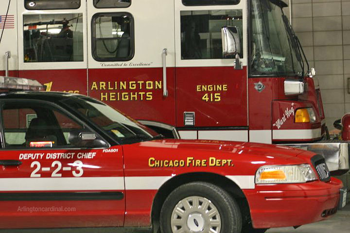 Arlington Heights Fire Department Engine 2 at Chicago Fire Department Engine Company 108 for station coverage during La Salle Bank Fire, Monday, December 6, 2004