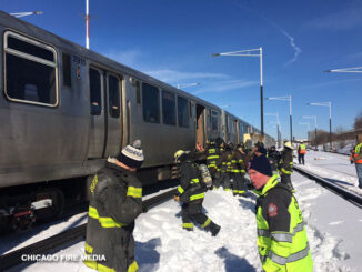 CTA Midway Derailment near Orange Line Station on Sunday, February 7, 2021 (SOURCE: Chicago Fire Department)