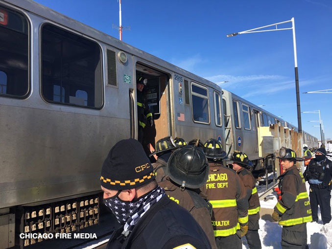 "CTA Midway ""Switching Incident"" near Orange Line Station on Sunday, February 7, 2021 (SOURCE: Chicago Fire Department)."