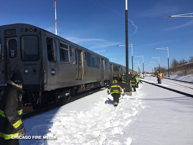 "CTA Midway ""Switching Incident"" near Orange Line Station on Sunday, February 7, 2021 (SOURCE: Chicago Fire Department)"
